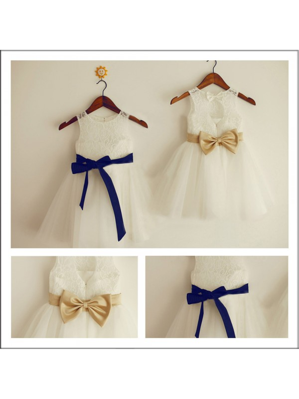 Tea-Length A-Line/Princess Scoop Sleeveless Bowknot Lace Flower Girl Dresses