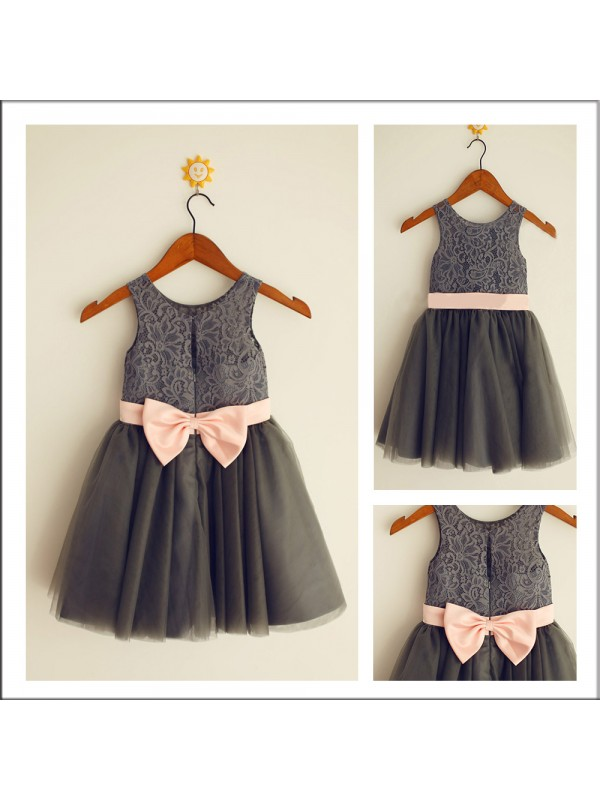 Tea-Length A-Line/Princess Scoop Sleeveless Bowknot Tulle Flower Girl Dresses