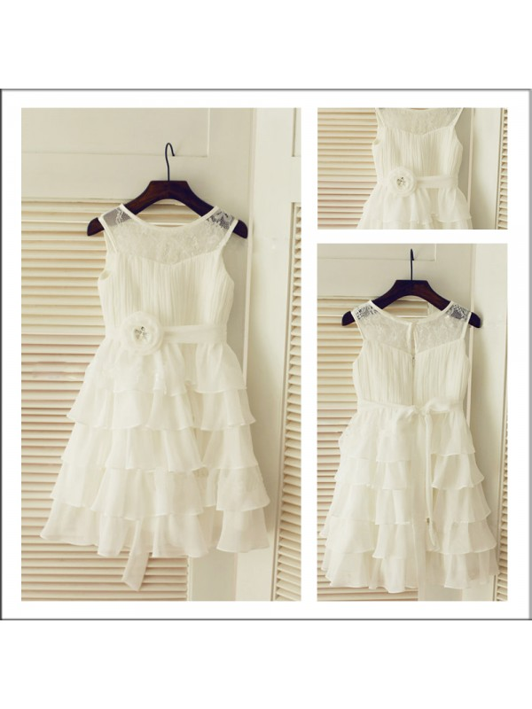 Tea-Length A-Line/Princess Scoop Sleeveless Layers Chiffon Flower Girl Dresses
