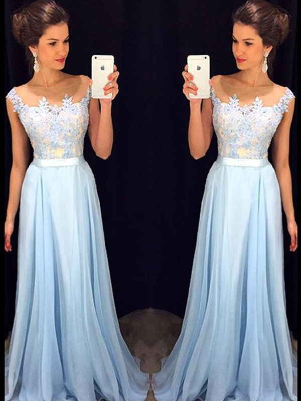A-Line/Princess Sleeveless Sheer Neck Applique Chiffon Brush Train Dresses