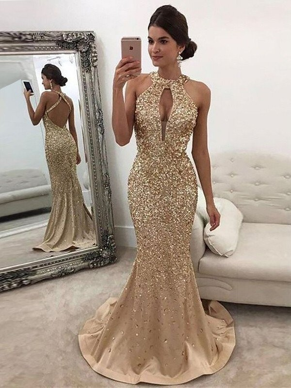 Trumpet/Mermaid Sleeveless Sequin Sweep/Brush Train Satin Halter Dresses