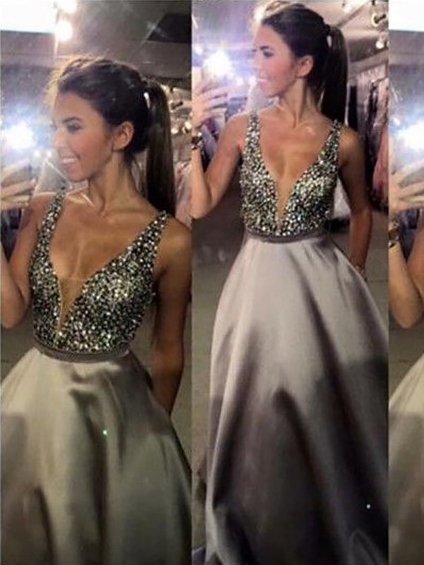 A-Line/Princess V-Neck Sweep/Brush Train Sleeveless Beading Satin Dresses