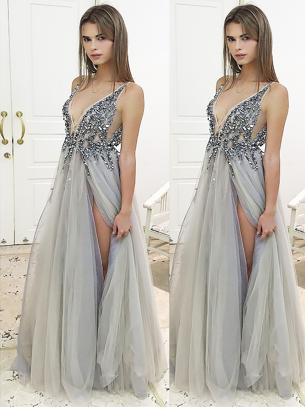 A-Line/Princess Floor-Length V-Neck Sleeveless Beading Tulle Dresses