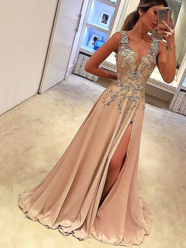 A-Line/Princess V-neck Floor-Length Sleeveless Applique Silk like Satin Dresses