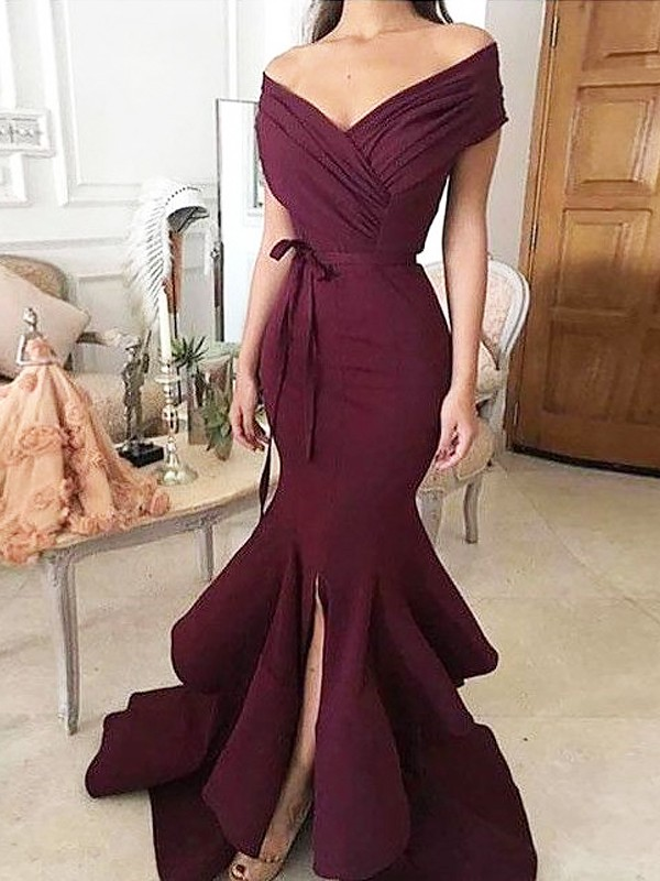 Trumpet/Mermaid Sleeveless Off-the-Shoulder Floor-Length Ruched Satin Dresses