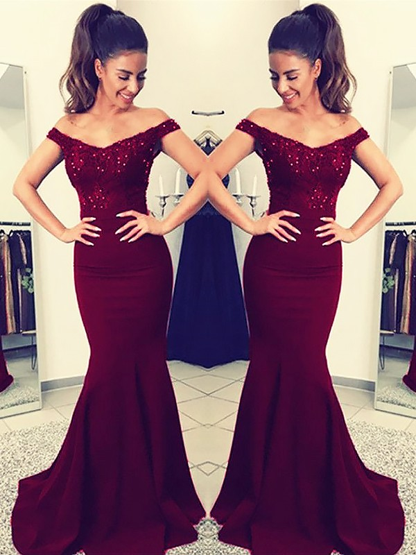 Trumpet/Mermaid Off-the-Shoulder Sleeveless Lace Sweep/Brush Train Elastic Woven Satin Dresses
