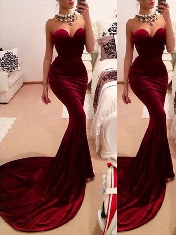 Sweetheart Trumpet/Mermaid Sweep/Brush Train Velvet Sleeveless Ruffles Dresses