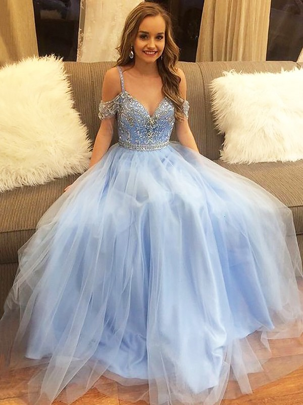 A-Line/Princess Tulle Sleeveless Off-the-Shoulder Floor-Length Beading Dresses