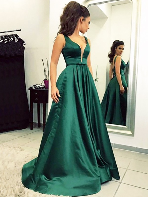 A-Line/Princess V-neck Sweep/Brush Train Satin Sleeveless With Ruffles Dresses