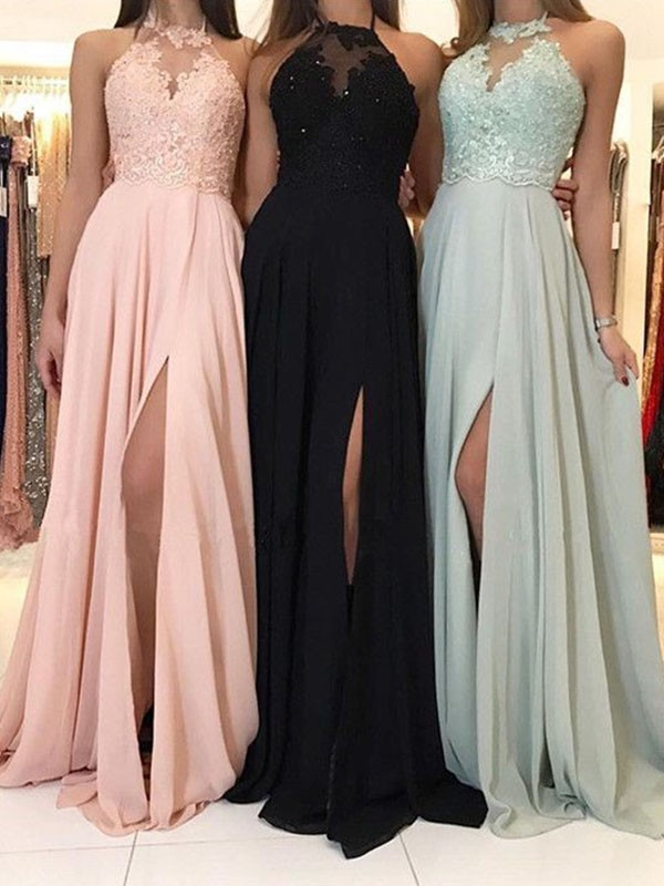 A-Line/Princess Halter Sleeveless Ruched Sweep/Brush Train Chiffon Applique Dresses