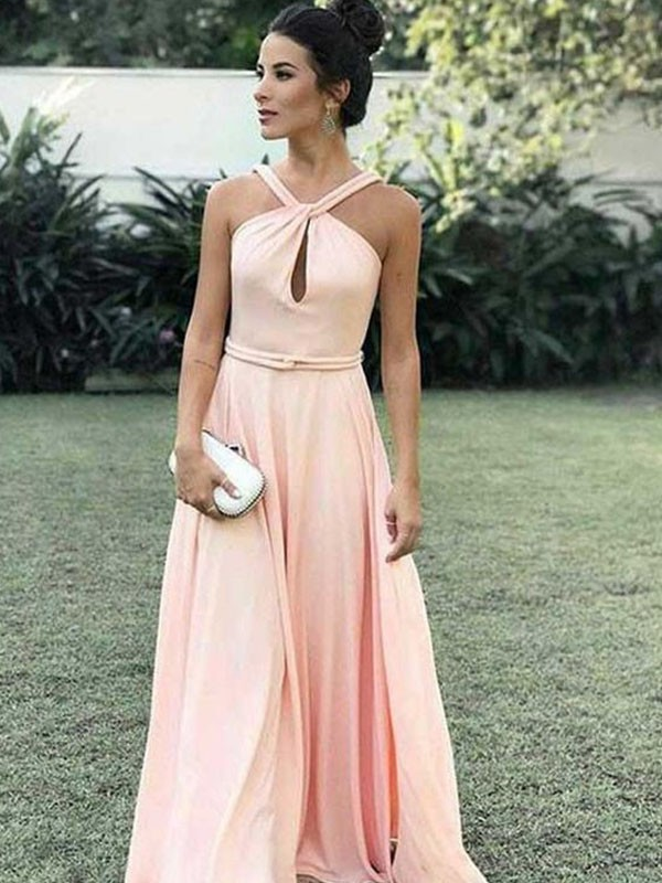 A-Line/Princess Halter Sleeveless Chiffon Ruched Floor-Length Dresses