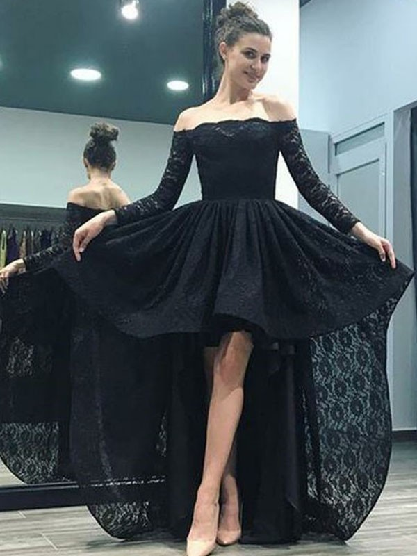A-Line/Princess Off-the-Shoulder Lace Long Sleeves Sweep/Brush Train Asymmetrical Dresses