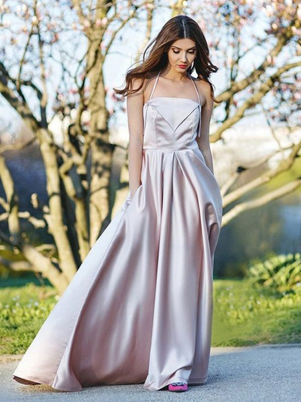 A-Line/Princess Halter Sleeveless Ruched Sweep/Brush Train Satin Dresses