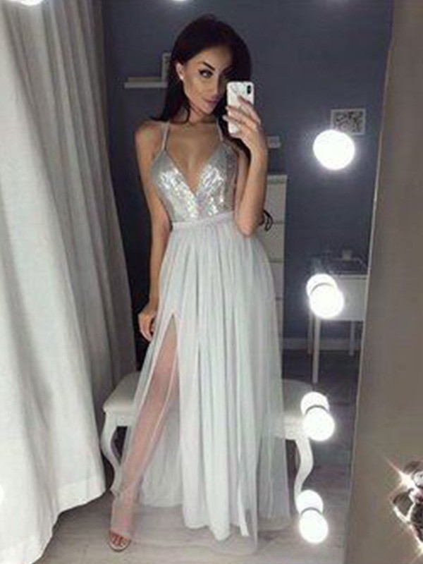 A-Line/Princess V-neck Straps Sleeveless Ruched Chiffon Beading Floor-Length Dresses