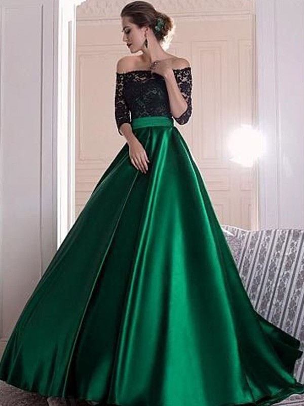 A-Line/Princess Off-the-Shoulder 3/4 Sleeves Lace With Ruched Sweep/Brush Train Satin Dresses