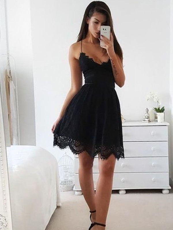 A-Line/Princess Spaghetti Straps Sleeveless Lace Short/Mini Dresses