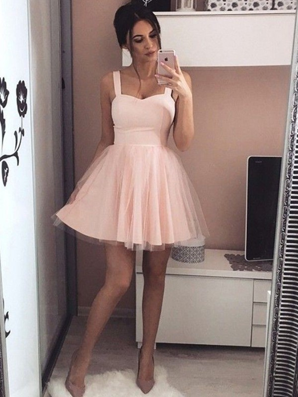 A-Line/Princess Satin Straps Sleeveless Ruched Short/Mini Dresses