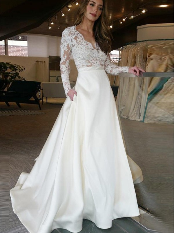 A-Line/Princess V-neck Long Sleeves Satin Sweep/Brush Train Applique Wedding Dresses