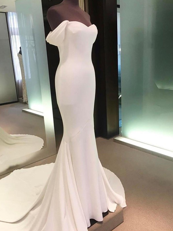 Sheath/Column Off-the-Shoulder Short Sleeves Court Train Spandex Wedding Dresses