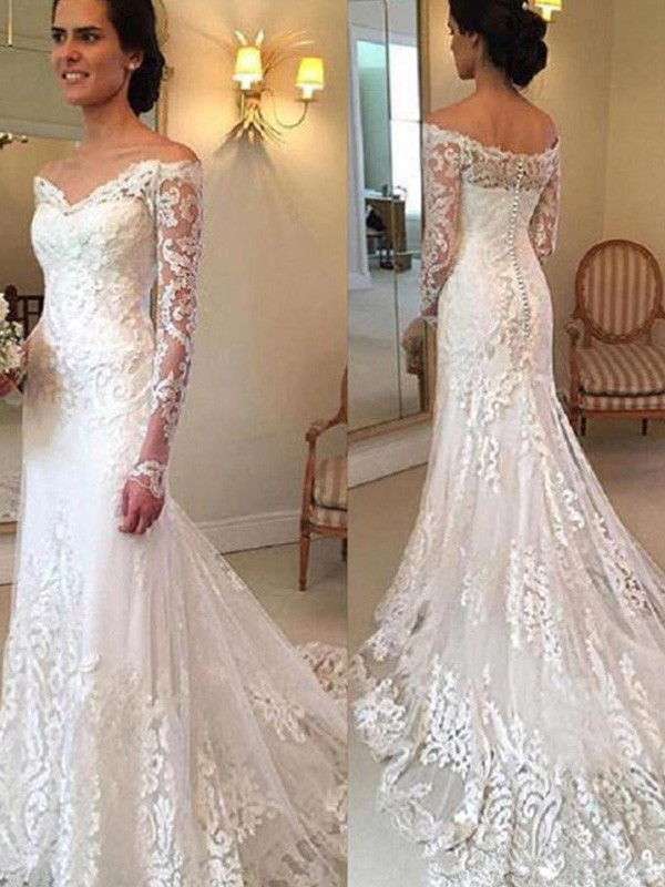 Trumpet/Mermaid Long Sleeves Off-the-Shoulder Court Train Applique Lace Wedding Dresses