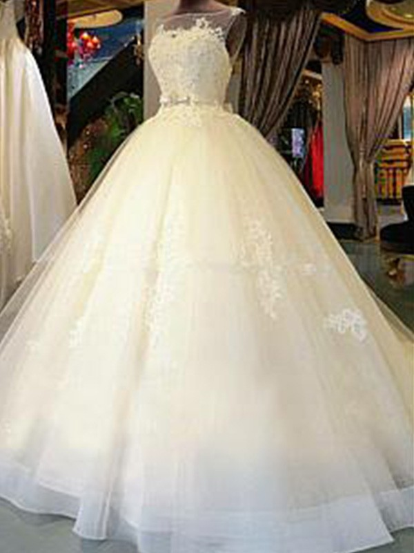 Ball Gown Sleeveless Scoop Cathedral Train Sash/Ribbon/Belt Applique Tulle Wedding Dresses