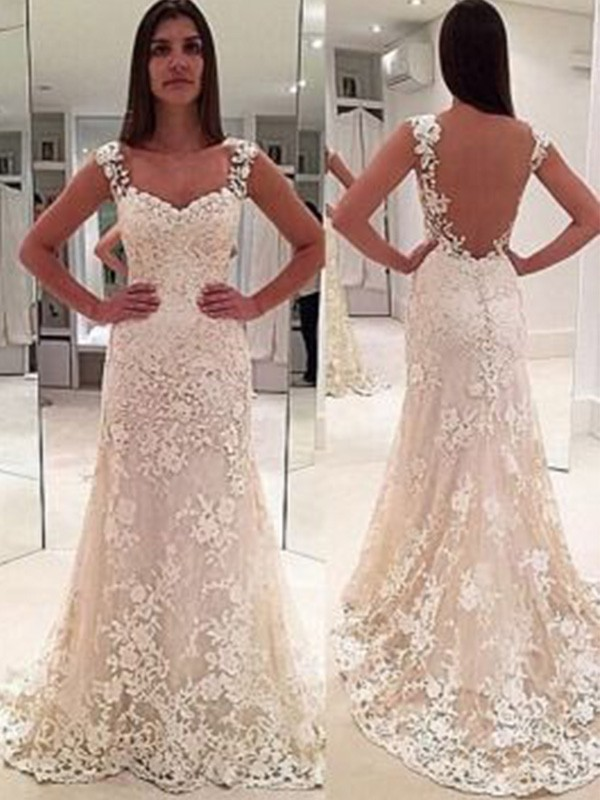 Sheath/Column Straps Sweetheart Sleeveless Court Train Applique Lace Wedding Dresses