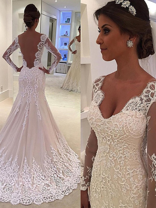 Trumpet/Mermaid Long Sleeves V-neck Lace Court Train Wedding Dresses