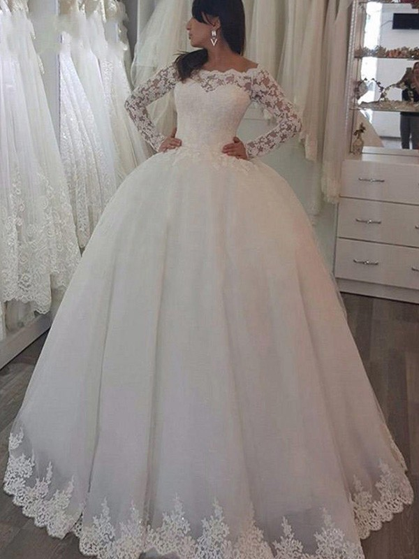 Ball Gown Long Sleeves Off-the-Shoulder Sweep/Brush Train Applique Lace Wedding Dresses