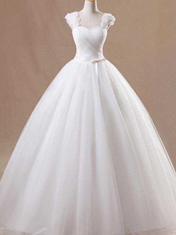Ball Gown Sleeveless Floor-Length Square Ruffles Tulle Wedding Dresses