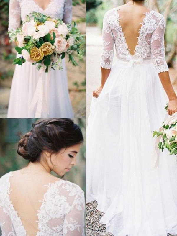 A-Line/Princess 1/2 Sleeves V-neck Floor-Length Applique Lace Chiffon Wedding Dresses