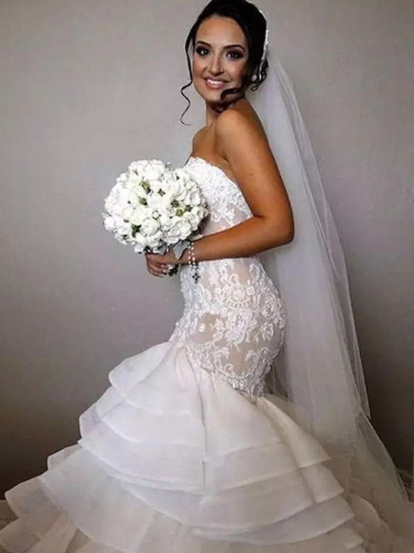 Trumpet/Mermaid Sweetheart Sleeveless Chapel Train Ruffles Applique Lace Organza Wedding Dresses