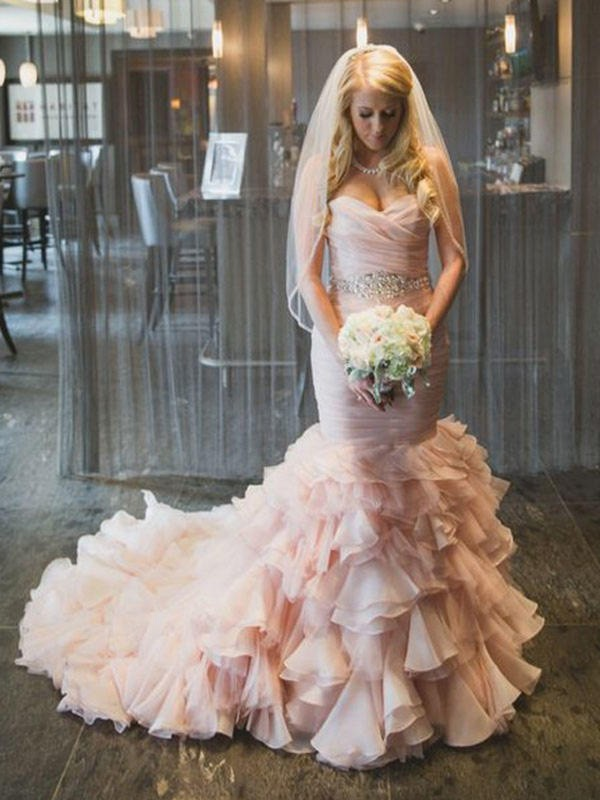 Trumpet/Mermaid Sweetheart Sleeveless Court Train Ruffles Organza Wedding Dresses