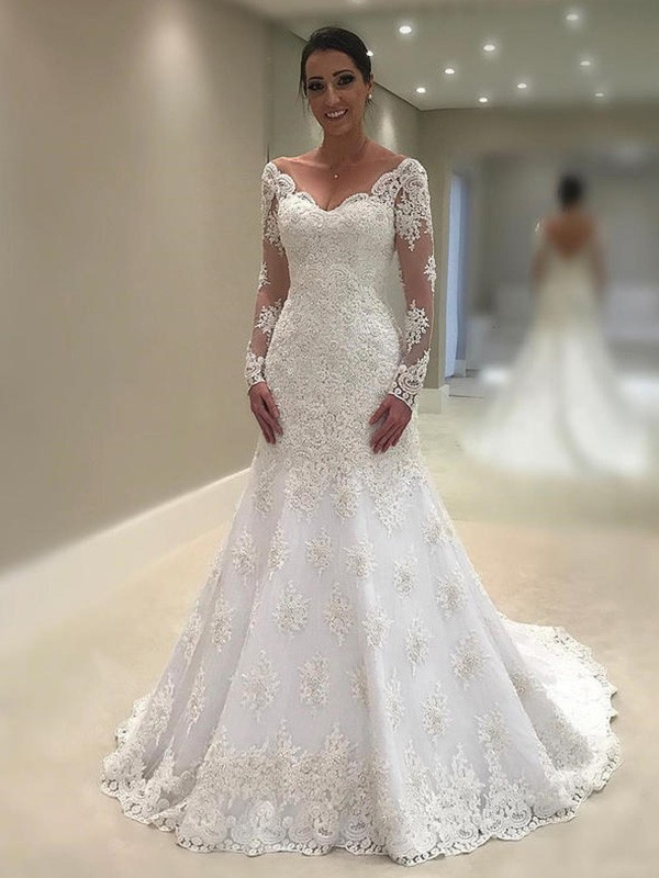 Trumpet/Mermaid V-neck Long Sleeves Court Train Applique Lace Wedding Dresses