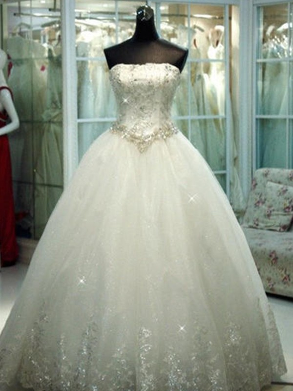 Ball Gown Strapless Floor-Length Beading Tulle Sleeveless Wedding Dresses
