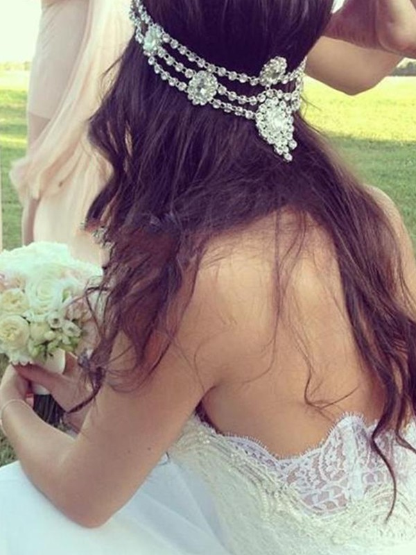 A-Line/Princess Sweetheart Sleeveless Court Train Tulle Lace Wedding Dresses