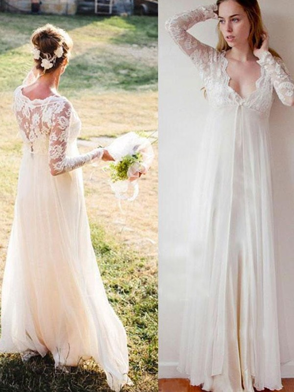 Empire V-neck Long Sleeves Floor-Length Chiffon Lace Wedding Dresses