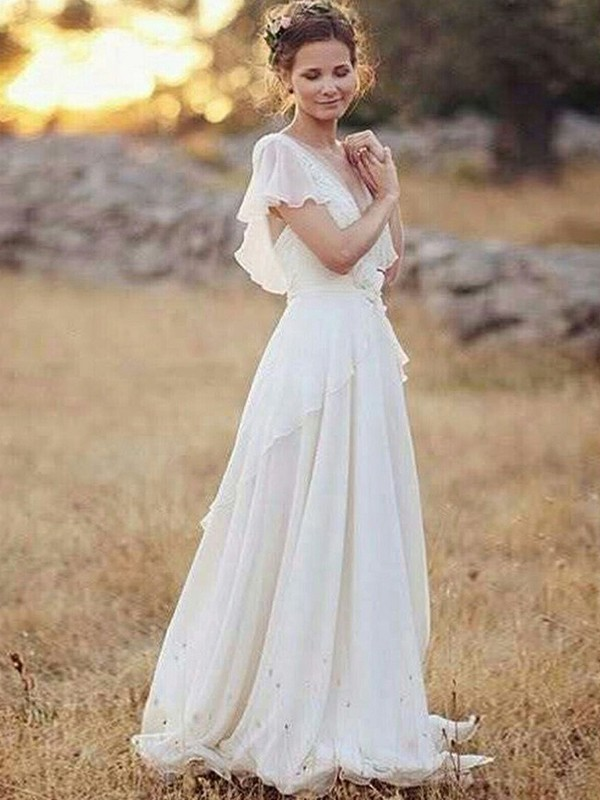 A-Line/Princess V-neck Floor-Length Ruched Short Sleeves Chiffon Wedding Dresses