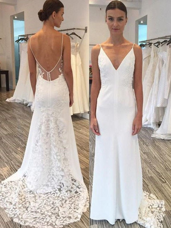 Sheath/Column Spaghetti Straps Sleeveless Sweep/Brush Train Satin Lace Wedding Dresses