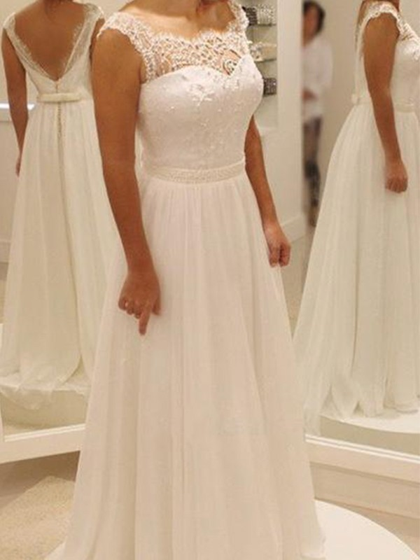 A-Line/Princess Bowknot Chiffon Lace Scoop Sleeveless Sweep/Brush Train Wedding Dresses