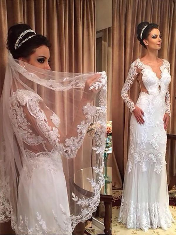 Sheath/Column V-neck Long Sleeves Sweep/Brush Train Tulle Applique Wedding Dresses