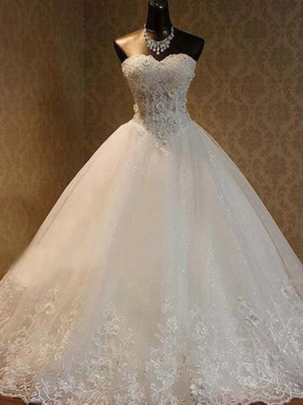 Ball Gown Floor-Length Sweetheart Sleeveless Tulle Beading Wedding Dresses