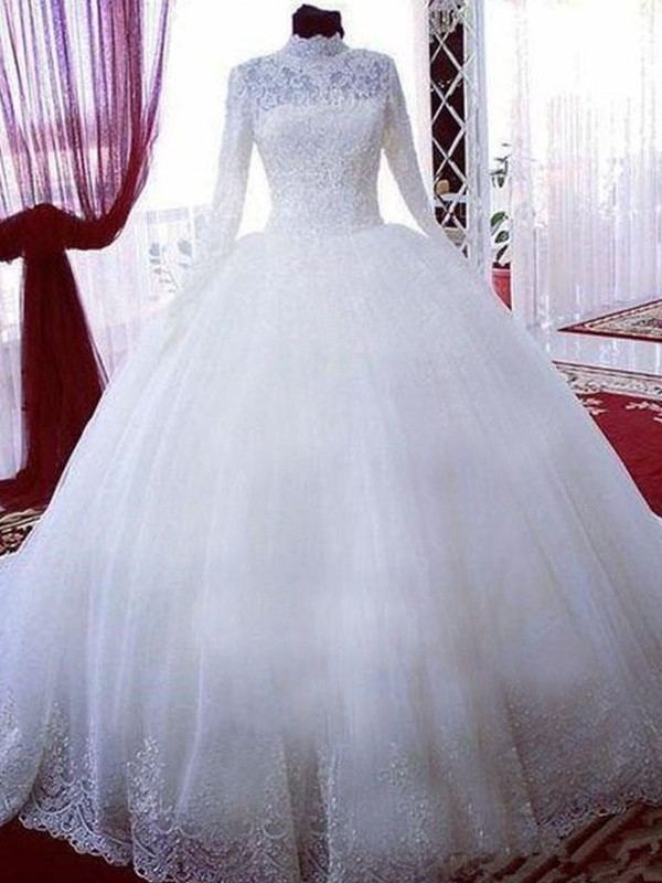 Ball Gown High Neck Long Sleeves Chapel Train Lace Tulle Wedding Dresses