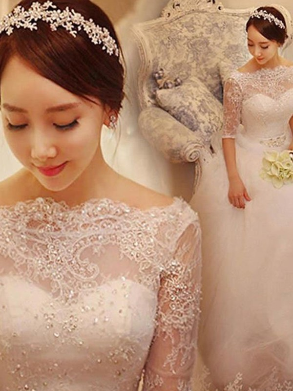 Ball Gown Tulle 1/2 Sleeves Off-the-Shoulder Chapel Train Beading Wedding Dresses