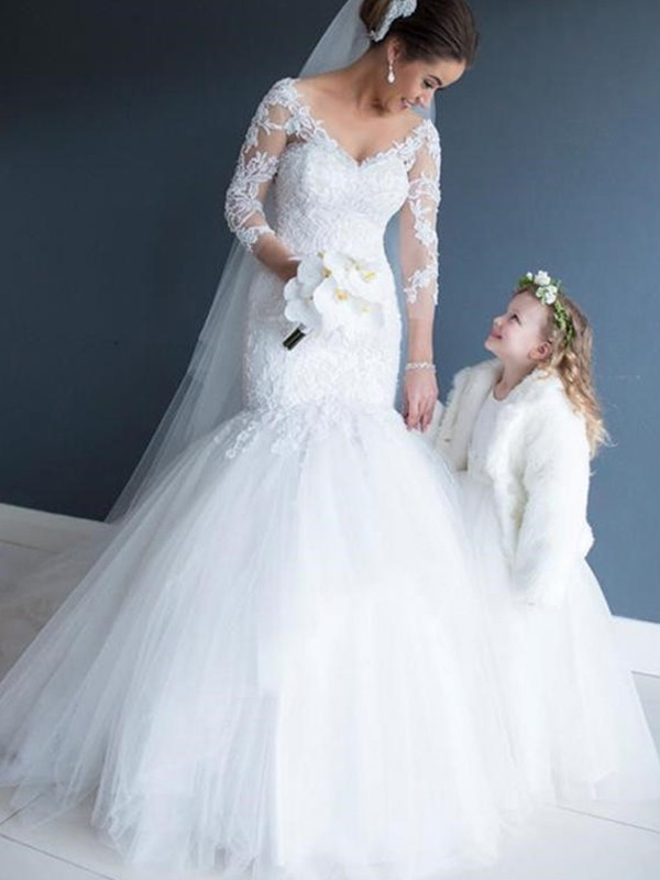 Trumpet/Mermaid V-neck 3/4 Sleeves Court Train Tulle Lace Wedding Dresses