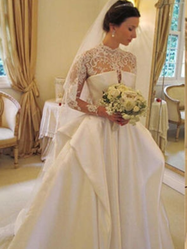 Ball Gown High Neck Long Sleeves Satin Lace Chapel Train Wedding Dresses