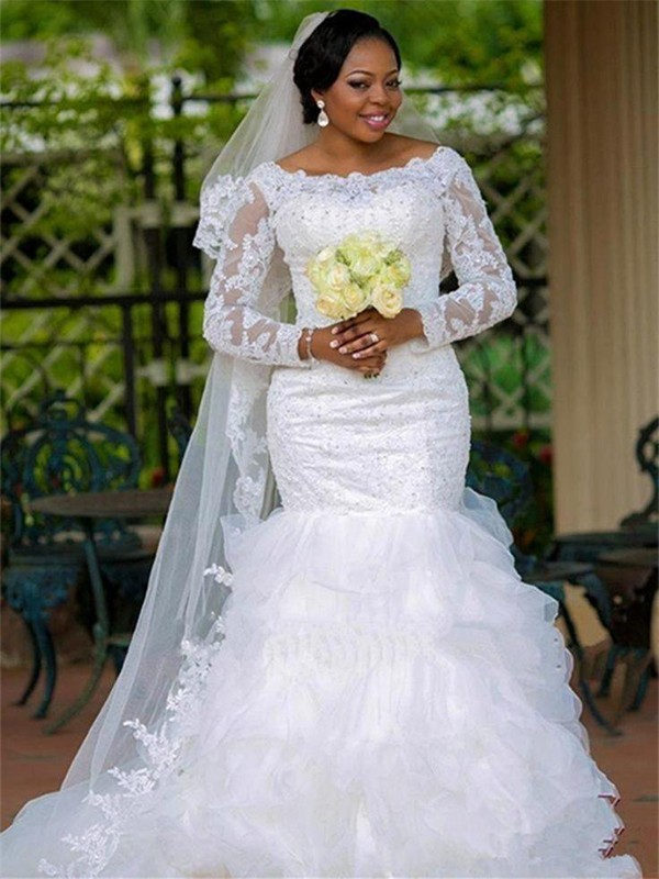 Trumpet/Mermaid Long Sleeves Chapel Train Square Applique Organza Wedding Dresses
