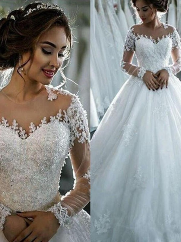 Ball Gown Long Sleeves Court Train Applique Tulle Scoop Wedding Dresses