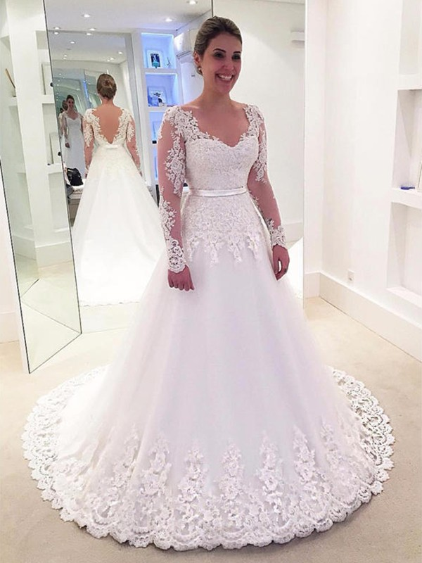 A-Line/Princess V-neck Lace Long Sleeves Applique Tulle Sweep/Brush Train Wedding Dresses