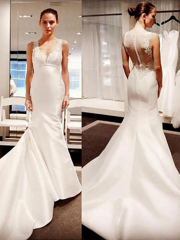 Trumpet/Mermaid Sleeveless Court Train V-neck Satin Applique Wedding Dresses