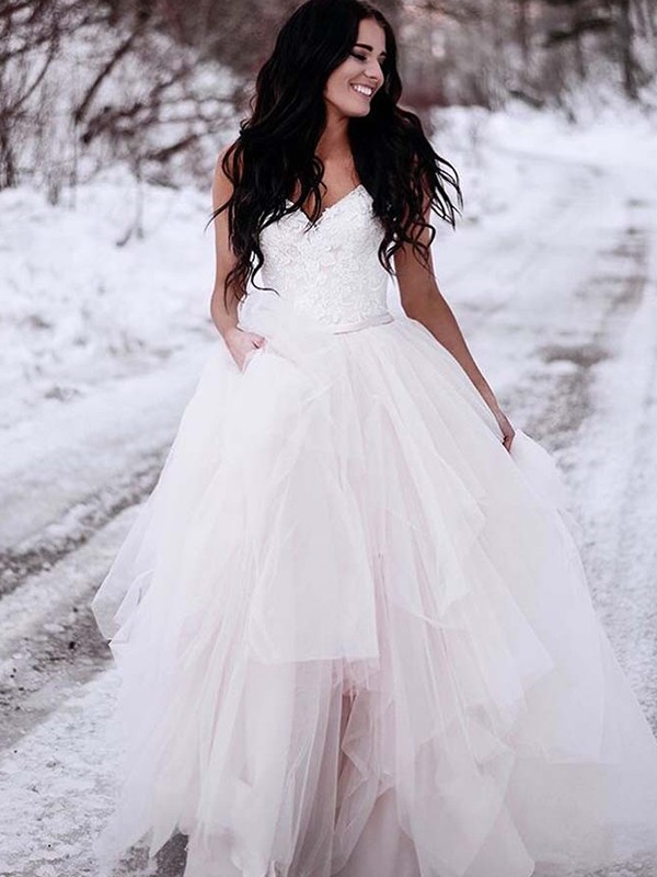 A-Line/Princess V-neck Sleeveless Floor-Length Ruched Tulle Wedding Dresses